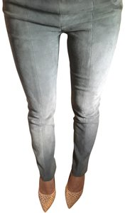 Jarbo Suede Casual Straight Pants Grey Green