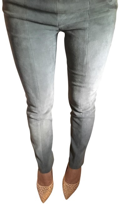 Item - Grey Green Stretch Suede Leather Seam Back Pants Size 4 (S, 27)