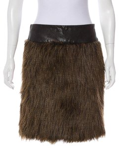 BCBGMAXAZRIA Max Azria Faux Fur Max Azria Pencil New With Tags Skirt Dark Chestnut Brown