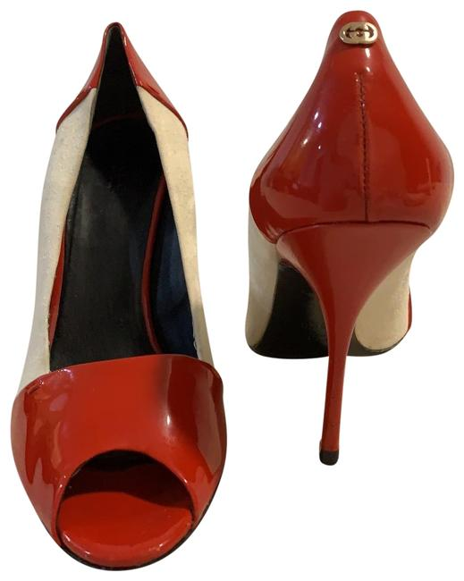 Item - Red White Suede/Patent Leather Red/White Heels Pumps Size US 9.5 Regular (M, B)