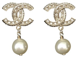 Chanel Chanel New with Tags and Large Size CC Gold, Strass, and Pearl Drop Earring