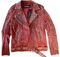 Balmain Leather Runway Decanting Studded Safety Pin Jacket FR36 red Leather Jacket