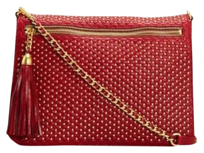 Item - Clutch Racy Red Gold Leather Cross Body Bag