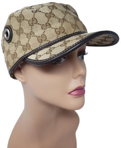 Gucci Brown GG web monogram canvas Gucci cap L sz