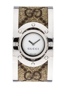 Gucci Stainless steel 23mm Gucci 112 Twirl Bangle GG web watch