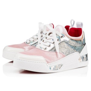 Christian Louboutin Sneakers Trainers Metallic Silver/Pink/White Athletic