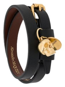 Alexander McQueen Black and Gold Skull Double-wrap Bracelet