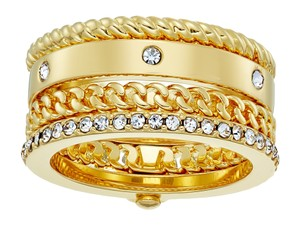 Kate Spade KS Infinity Beyond Hinged 12K Gold Crystal Pave Chain Stack Ring sz5