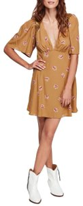 Free People short dress Yellow, Mustard, Pink Summer Floral Lace Embroidered on Tradesy