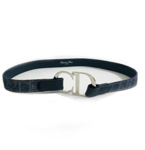 Dior Christian Dior Navy / Blue Monogram Canvas Belt
