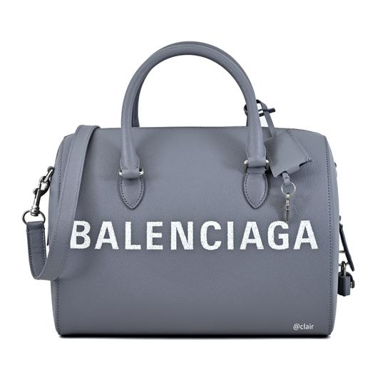 Balenciaga Leather Satchel in Grey Image 3
