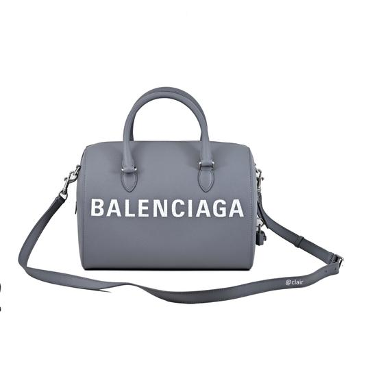 Balenciaga Leather Satchel in Grey Image 4