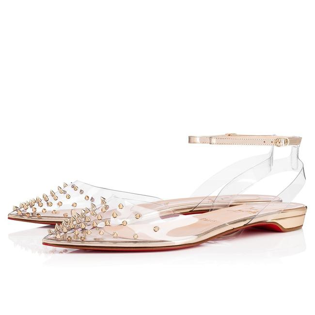 Item - Gold Spikoo Pvc Metallic Leather Spiked Studded Sandals Flats Size EU 38.5 (Approx. US 8.5) Regular (M, B)
