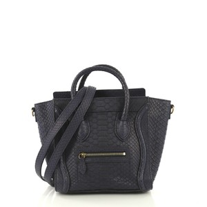 Céline Luggage Python Satchel in dark blue