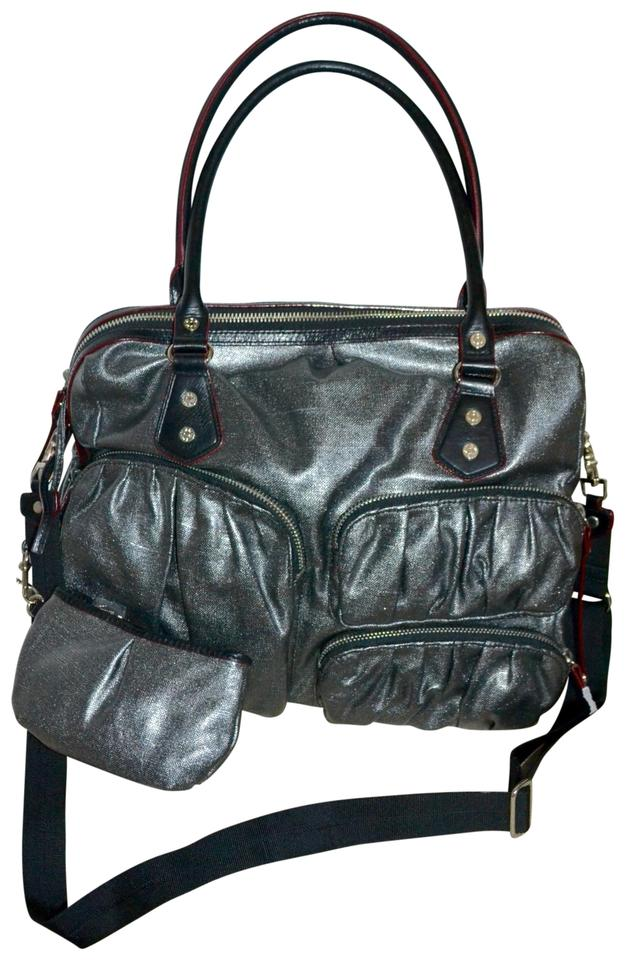 Mz Wallace Kate Silver Hardware Mica Grey Nylon Weekend Travel Bag 21 Off Retail