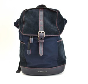 Burberry Logo Suede Nylon Navy Backpack