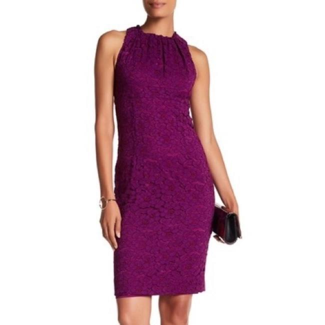 Item - Magenta Sally High Neck Lace Mid-length Cocktail Dress Size 8 (M)