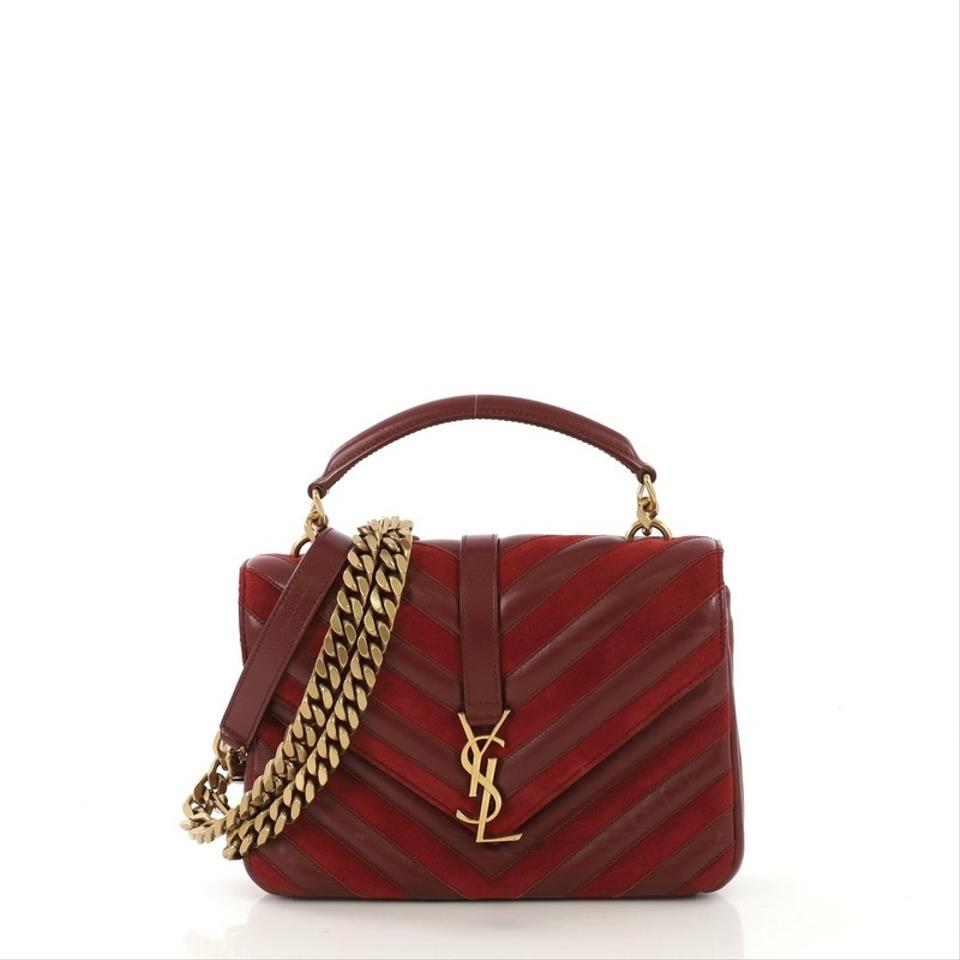 0649827e7f7 Saint Laurent Monogram Collège Classic Matelasse Chevron Red Leather and  Suede Medium Shoulder Bag