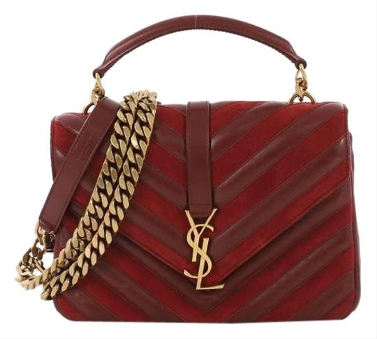 Preload https://img-static.tradesy.com/item/25566409/saint-laurent-monogram-college-classic-matelasse-chevron-red-leather-and-suede-medium-shoulder-bag-0-1-540-540.jpg