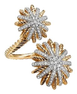 David Yurman Gold Starburst Open Ring with Diamonds