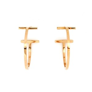 Tiffany & Co. Tiffany & Co. T Wire Hoop 18k Rose Gold Earrings