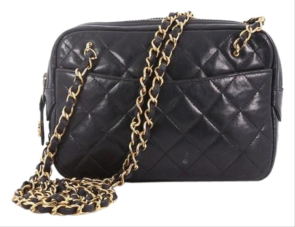 Chanel Shoulder Vintage Zip Chain Quilted Small Black