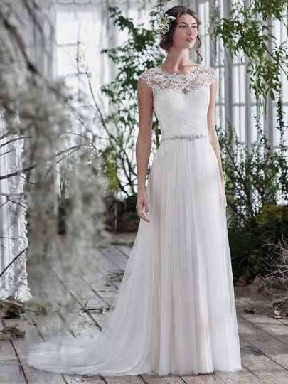 Maggie Sottero Ivory Tulle and Lace Patience Lynette Feminine Wedding Dress Size 14 (L) Image 1