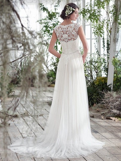 Maggie Sottero Ivory Tulle and Lace Patience Lynette Feminine Wedding Dress Size 14 (L) Image 2
