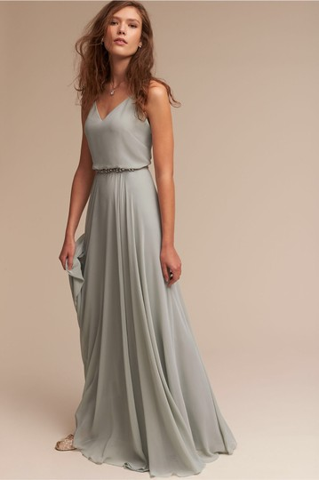 BHLDN Green- Morning Mist Chiffon Inesse Formal Bridesmaid/Mob Dress Size 4 (S) Image 0