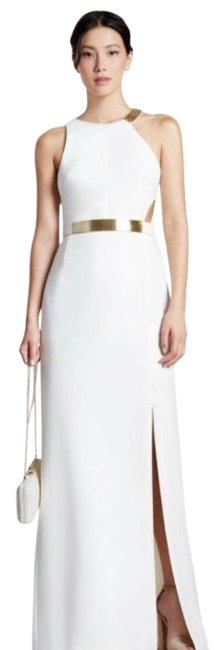 Halston White Metal Plate Crepe Gown Long Formal Dress Size 6 (S) Halston White Metal Plate Crepe Gown Long Formal Dress Size 6 (S) Image 1