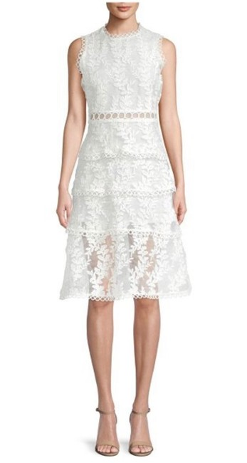 White Tiered Lace Mid-length Formal Dress Size 4 (S) White Tiered Lace Mid-length Formal Dress Size 4 (S) Image 1