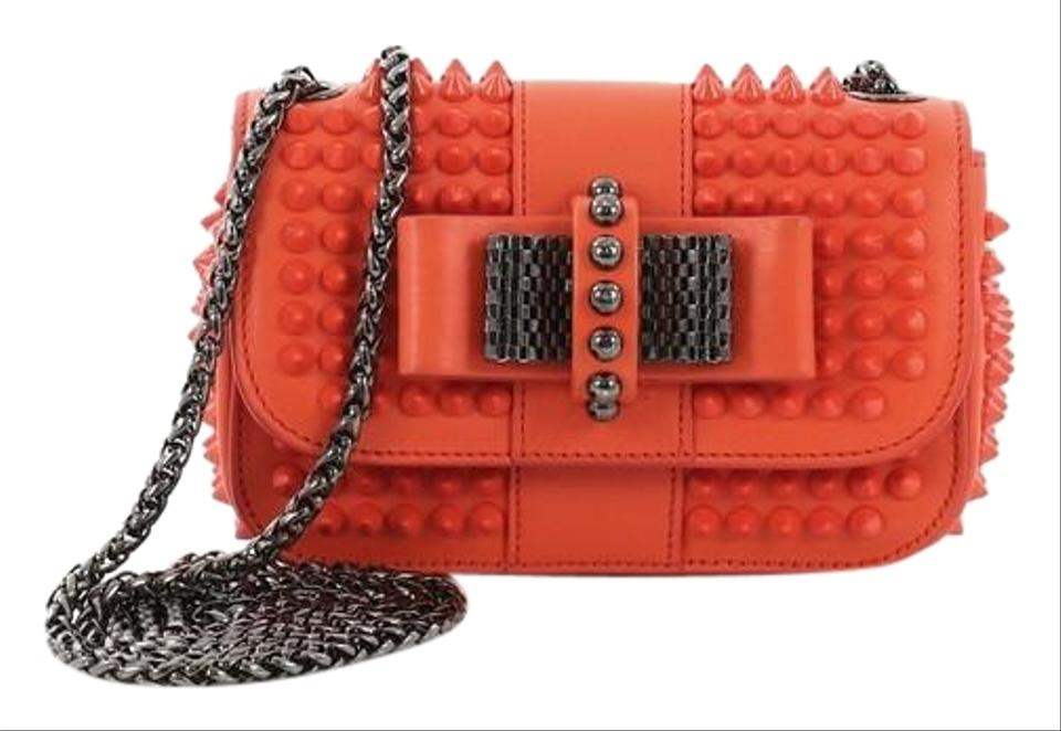 53d43a0fdf1 Christian Louboutin Sweet Charity Spiked Mini Orange Leather Cross Body Bag  63% off retail