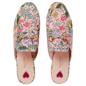 Gucci Princetown Loafers Floral Mules Pink Flats