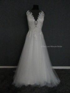 MADISON JAMES Ivory/Nude/Silver Tulle Mj417 Feminine Wedding Dress Size 20 (Plus 1x)