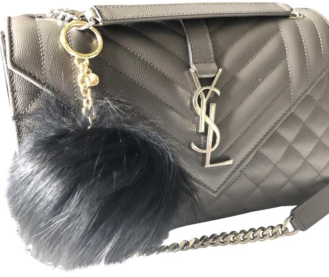 Item - Black New Red Fox Fur Pom Pom Keychain Fob Bag Charm