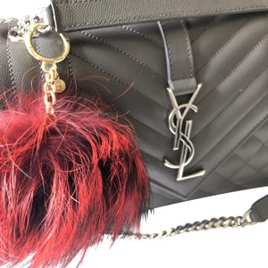 Michael Kors NEW Michael Kors RED & BLACK Fox Fur Pom Pom Keychain FOB Bag Charm