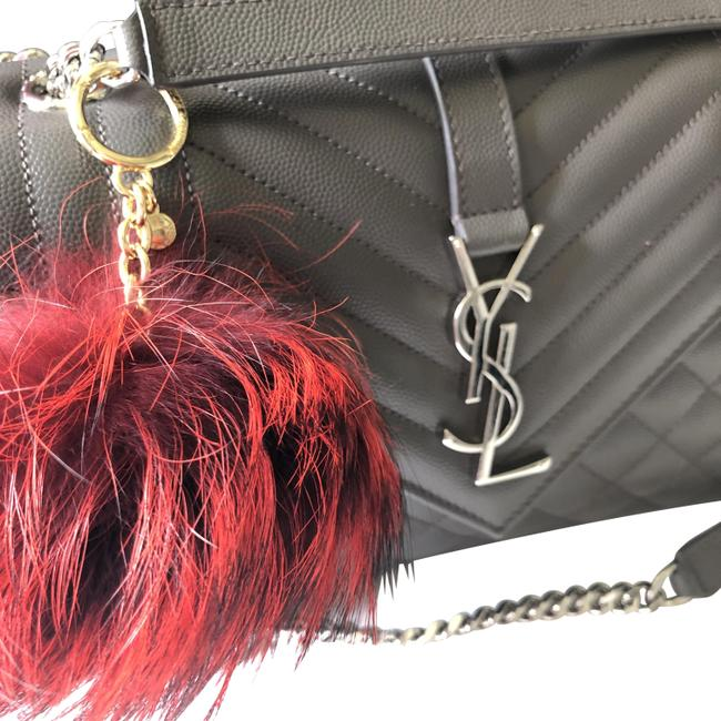 Item - Red & Black New Fox Fur Pom Pom Keychain Fob Bag Charm