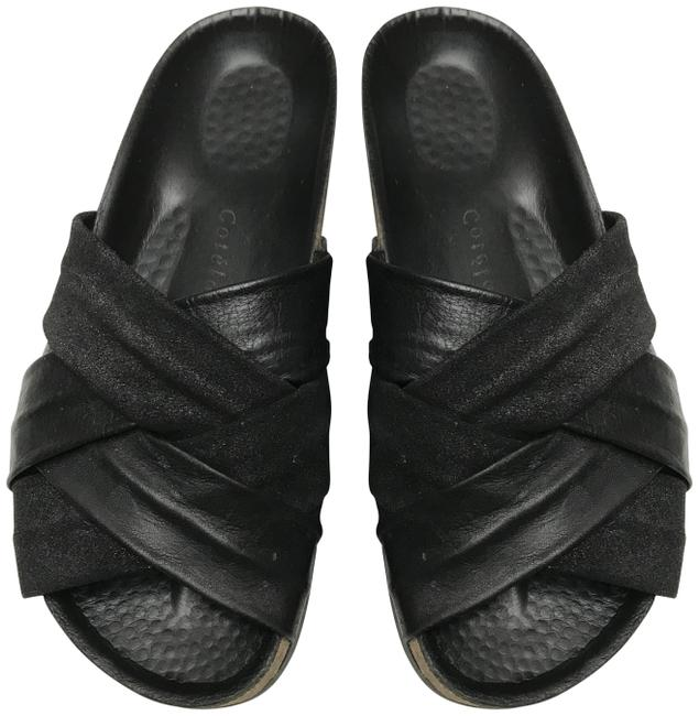 Item - Black French Leather Suede with Silver Dust On The Suede Sandals Size US 8 Regular (M, B)