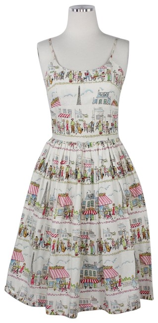 Item - Multicolor Rare Year Abroad Print Chelsea Spaghetti Strap Bistro Sundress Mid-length Short Casual Dress Size 6 (S)