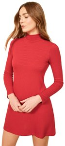 Reformation short dress Red Ribbed Turtleneck Mini on Tradesy