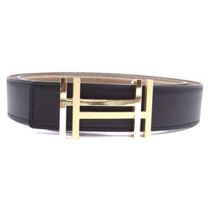 Hermès Ultra RARE 32Mm Satin Double Gold H Reversible leather Belt Size 85
