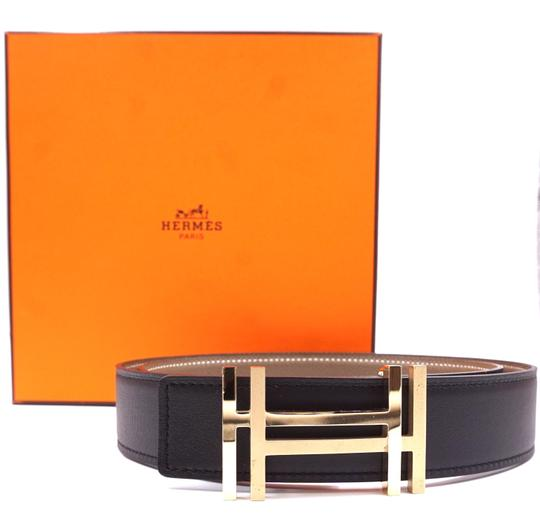 Hermès Ultra RARE 32Mm Satin Double Gold H Reversible leather Belt Size 85 Image 1