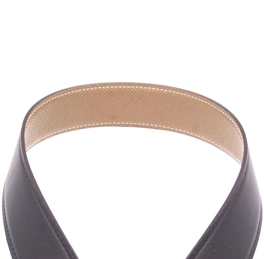 Hermès Ultra RARE 32Mm Satin Double Gold H Reversible leather Belt Size 85 Image 7