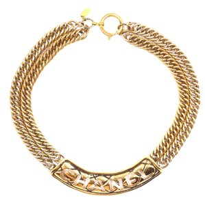 Chanel Ultra RARE CC Logo cutout spelled out chain gold choker necklace