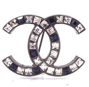 Chanel RARE CC baguette crystals ruthenium hardware brooch pin charm