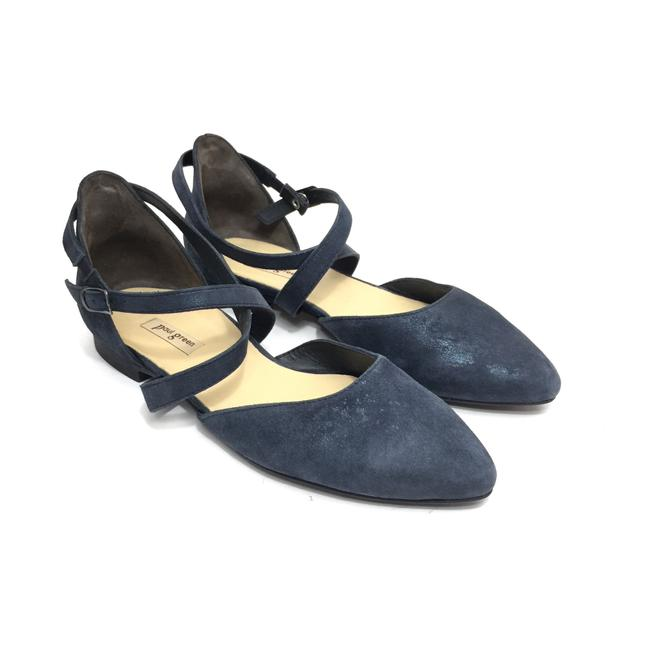Item - Blue W Metallic Distressed Nubuck Pointed W/ Straps Flats Size US 6 Regular (M, B)