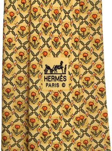 Hermès HERMES SILK MEN NECK TIE GOLD GREEN ORANGE YELLOW FLOWER LEAF