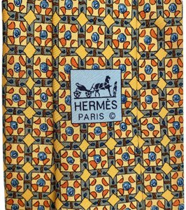 Hermès AUTHENTIC HERMES SILK MEN NECK TIE GOLD BLUE ORANGE YELLOW MOSAIC