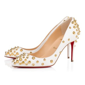 Christian Louboutin Heels Spikes Studded Aimantaclou Denim White Pumps
