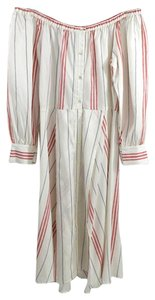 ELLE SASSON short dress WHITE/RED #summer #off The Shoulder #button #striped #tie Sash on Tradesy